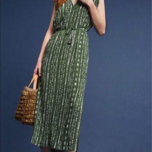 Anthropologie Porridge Green Dot Midi Dress